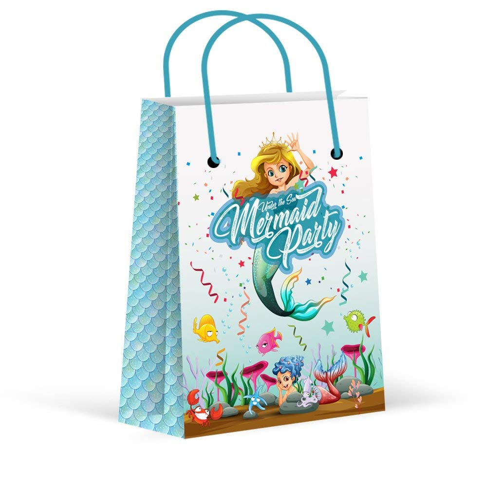 Premium Mermaid Party Bags, Girls Party Favor Bags, New, Treat Bags, Gift Bags,Goody Bags, Mermaid Party Favors, Mermaid Party Supplies, Mermaid Party Decorations, 12 Pack