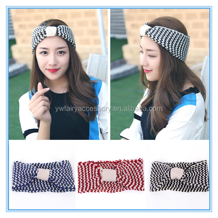 Woman Winter Acrylic Bow Knitted Headband In Stock Girls Knotted Headband