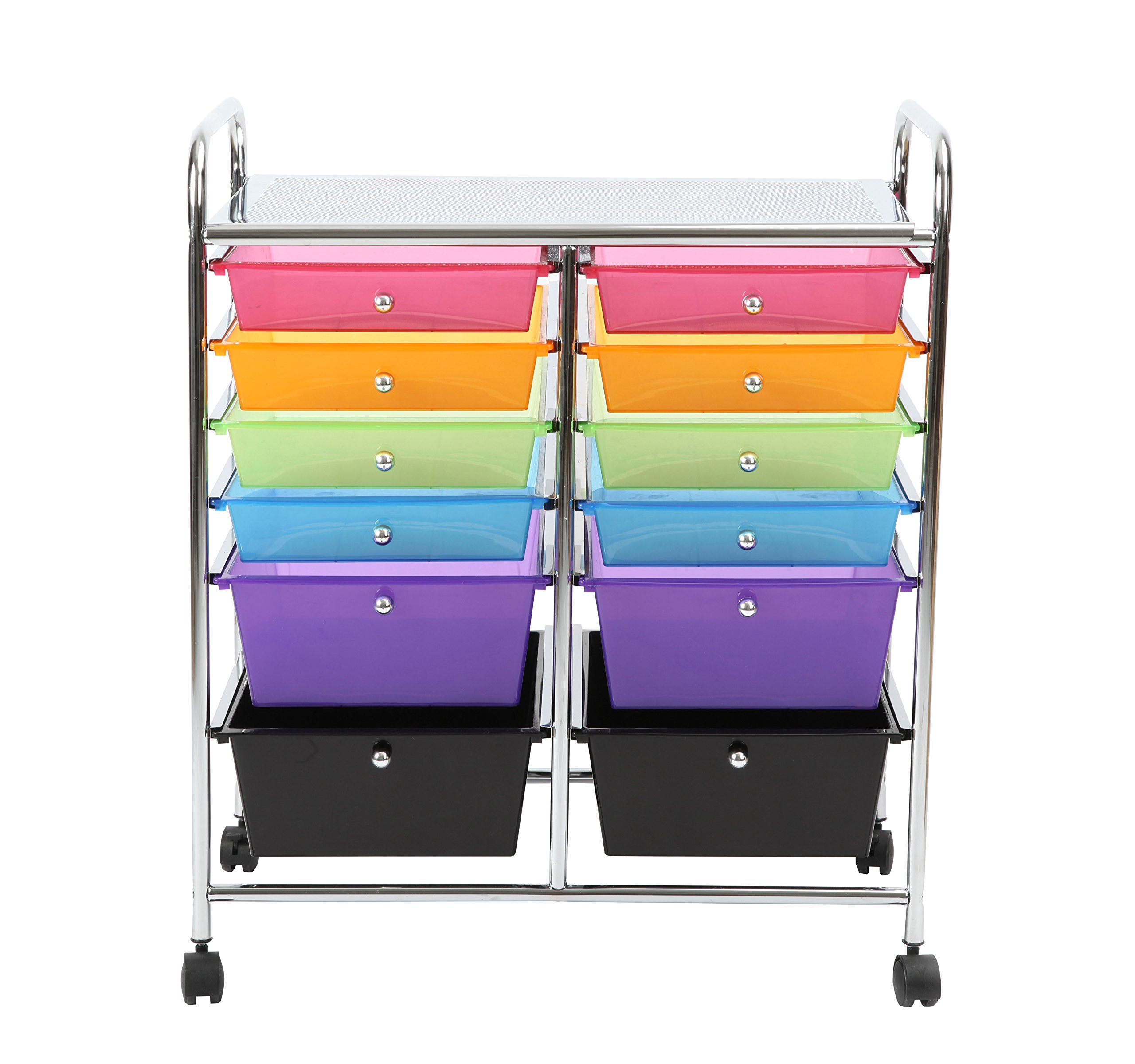 Finnhomy 12-Drawer Plastic Portable Mobile Organizer Rainbow, Multi-Purpose Utility Double Rolling Storage Cart, Bright Chrome Metal Frame and Multi Color Drawer Studio Trolley