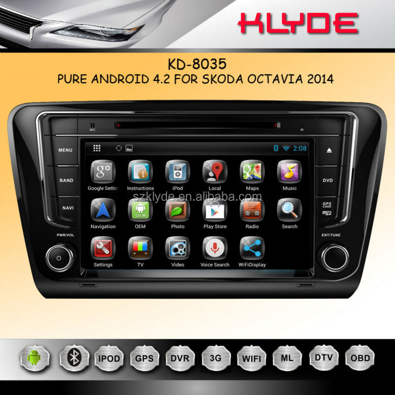 Best Selling Pure Android 4.2 Capacitive multi-touch screen octavia navigation dvd