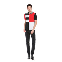 Western style cut and sew striped slim fit polyester cotton men undranded polo shirts