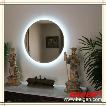 5 Star Hotel Room Furniture Round Backlit Mirror