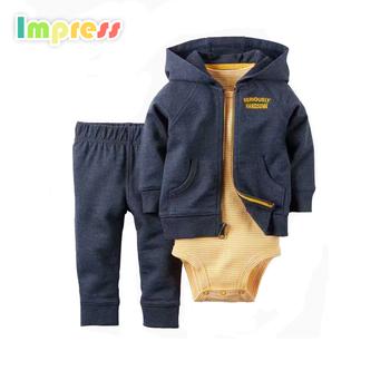 New Design Baby Boy Clothes 3 Piece Cotton Baby Hooded Cardigan Bodysuit Set Buy Baby Boy Clothes,Hooded Cardigan Set,Cotton Baby Product on