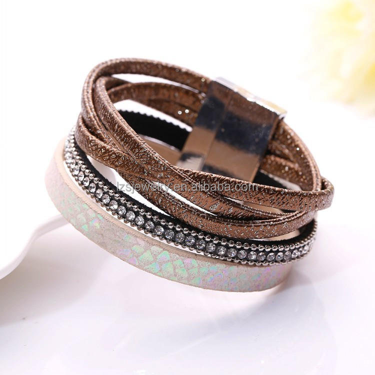 Hot Sale Leather Bracelets Bangle For Men Decorative Rivets Bangle