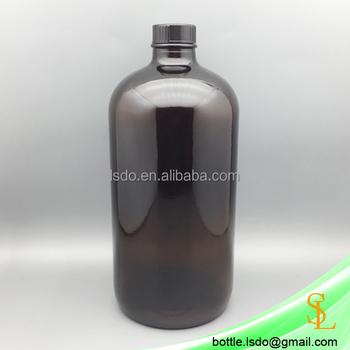 9dee8a7ec06f Large Laboratory 1l Empty 1000ml Amber Boston Round Glass Bottles 32oz For  Liquor With Black Plastic 28mm Leak Proof Cap - Buy Boston Glass ...