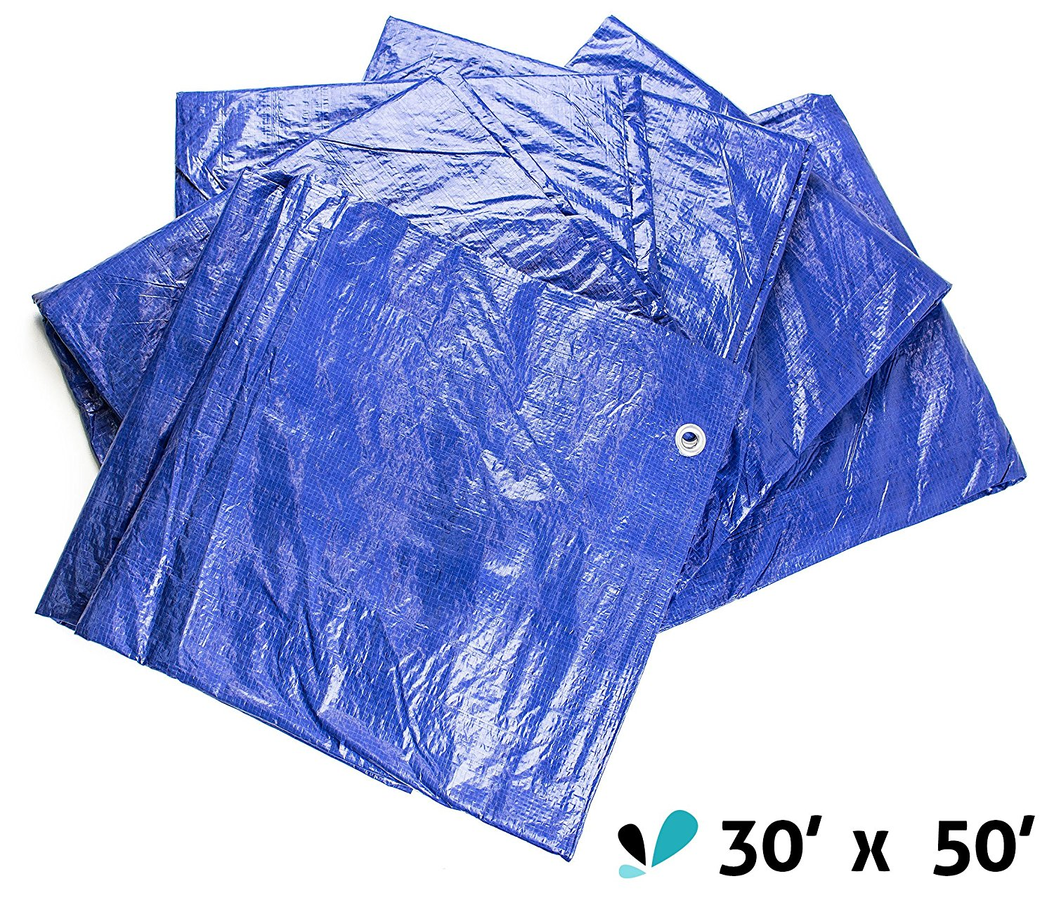 RK Safety All Purpose Waterproof Poly Tarp Cover (30-Feet x 50-Feet, Blue)