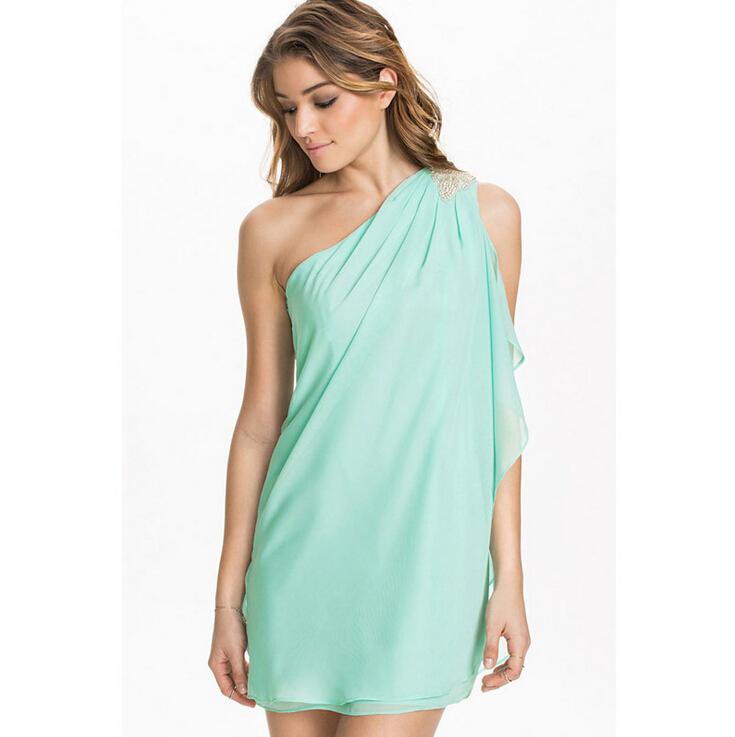 9b06e8c9c3b Get Quotations · New 2015 Summer Women Fashion Chiffon Dress Orange Blue  Beach Dress Draped Casual One Shoulder Dresses