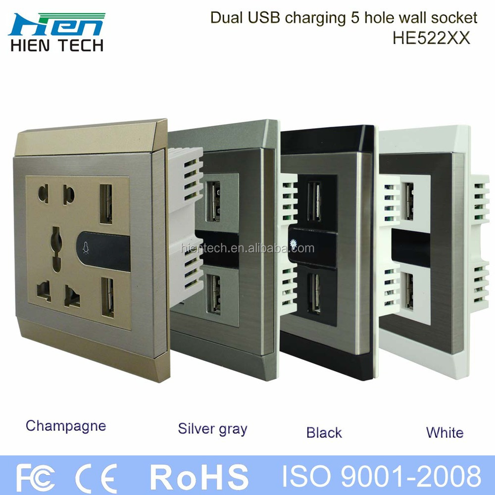 euro usb wall socket 220v with 2 night light and switch for bedroom
