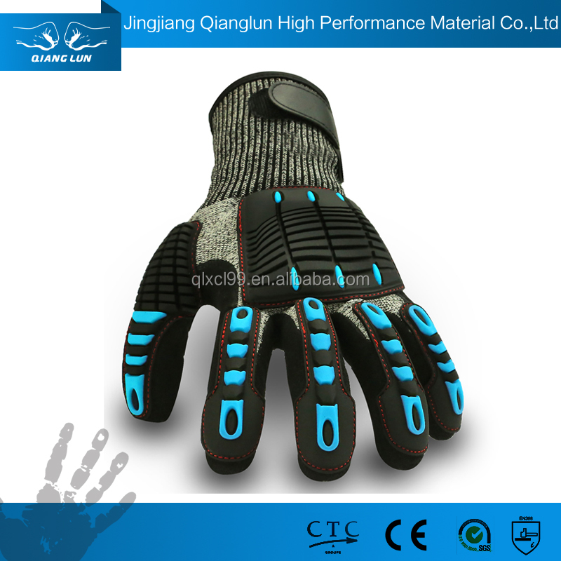 Nitrile coated palm cut resistant impact protection gloves