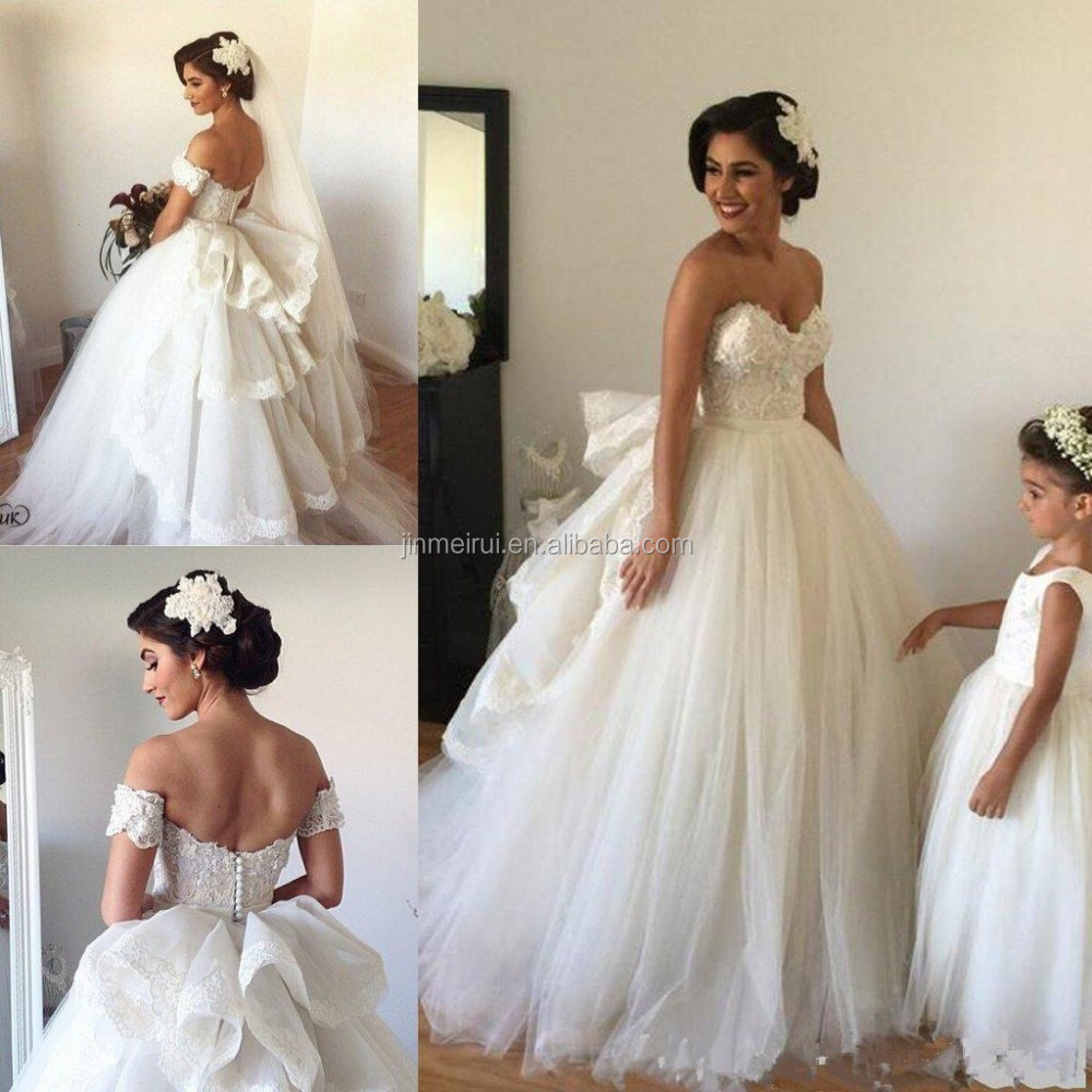 Victorian Princess Ball Gown Wedding Dresses With Detachable Train Sweetheart Lace Puffy Cinderella Bridal Gowns