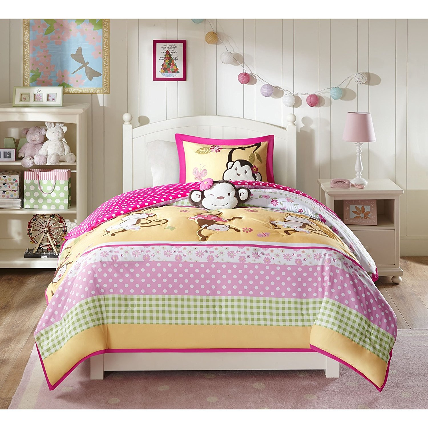 4 Piece Kids Multi Color Monkey Maze Comforter Set Full Queen, Pink Brown Green Monkeys Hanging Swinging Vine Motif Teen Themed Kids Bedding Reversible Polka Dot Casual Colorful, Polyester Microfiber