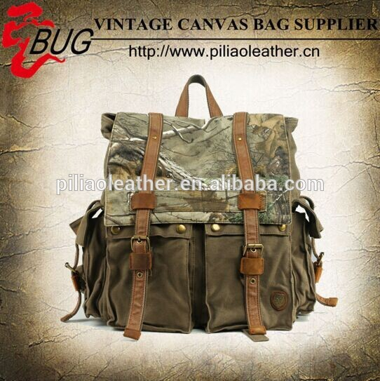 Camo vintage canvas hiking backpack/military backpack