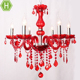 French Country Style Glass Arm Candle Interior Deco Red K9 Crystal Chandelier