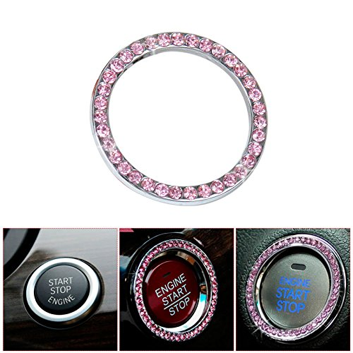 Bling Car Decor Crystal Rhinestone Car Bling Ring Emblem Sticker, Bling Car Accessories For Auto Start Engine Ignition Button Key & Knobs, Bling For Car Interior, Unique Gift For Women (Pink)