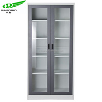 Fashional design 2 sliding glass door metal storage filing cabinet file cupboard with adjustable shelves