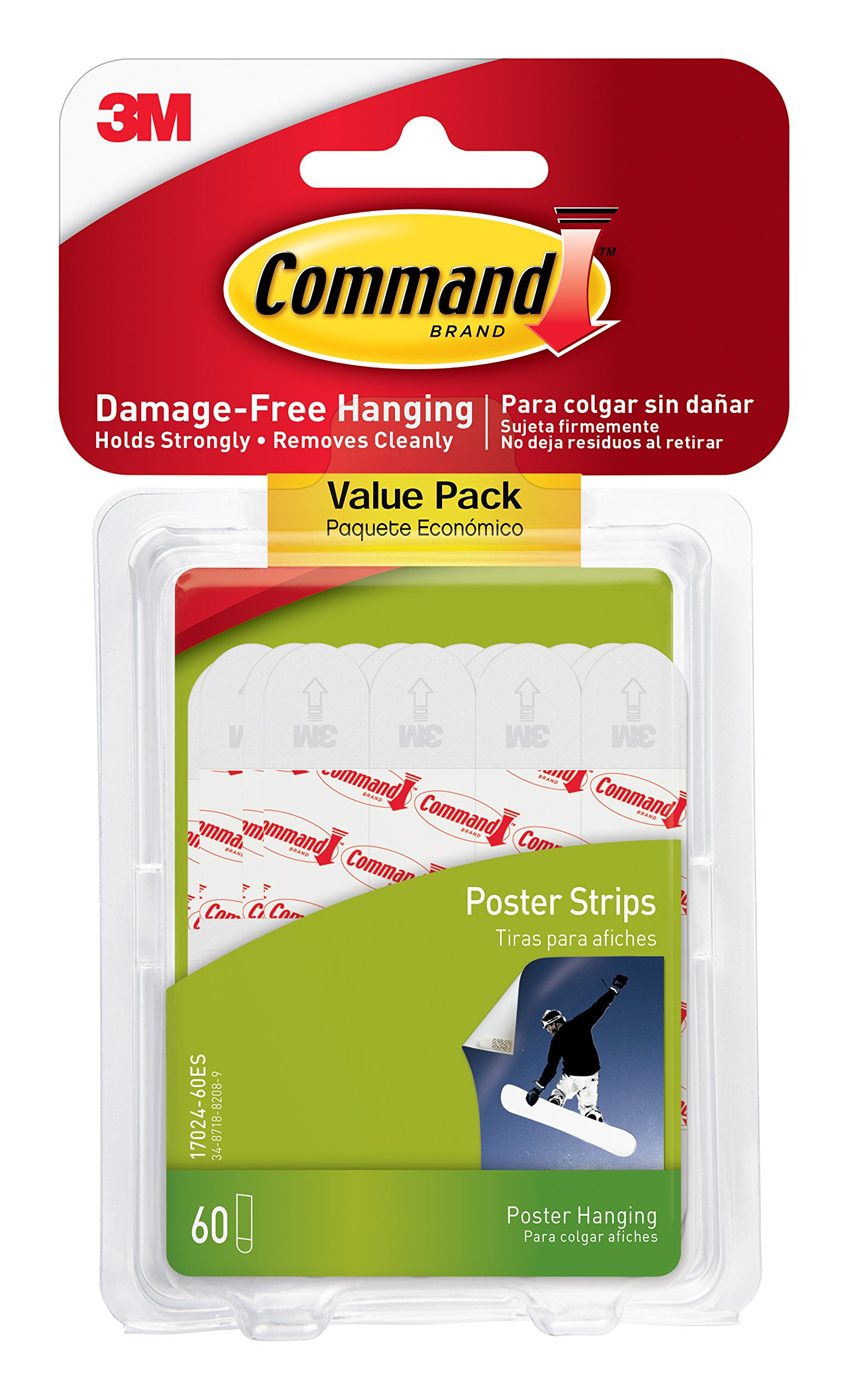 Command Poster Hanging Strips Value Pack, Small, White, 60-Pairs (17024-60ES)