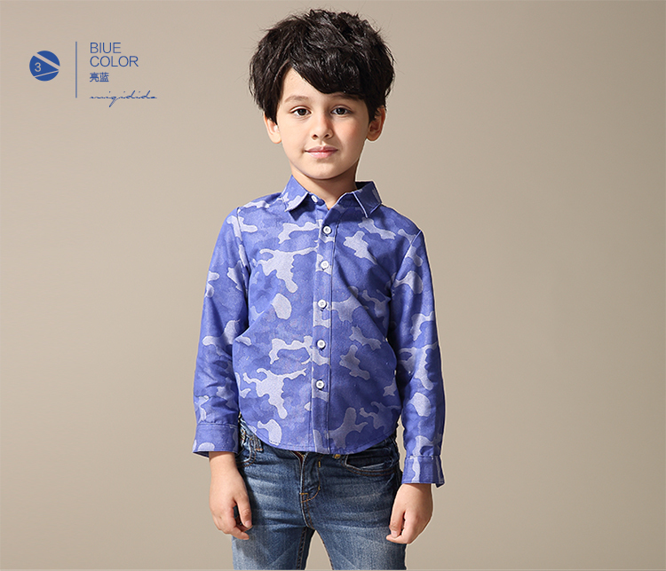 2015 Latest shirt flannel contrast Boys casual shirts , kid shirt