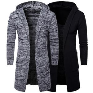 Men hooded plus thick long section cotton knit sweater cardigan with wholesale price