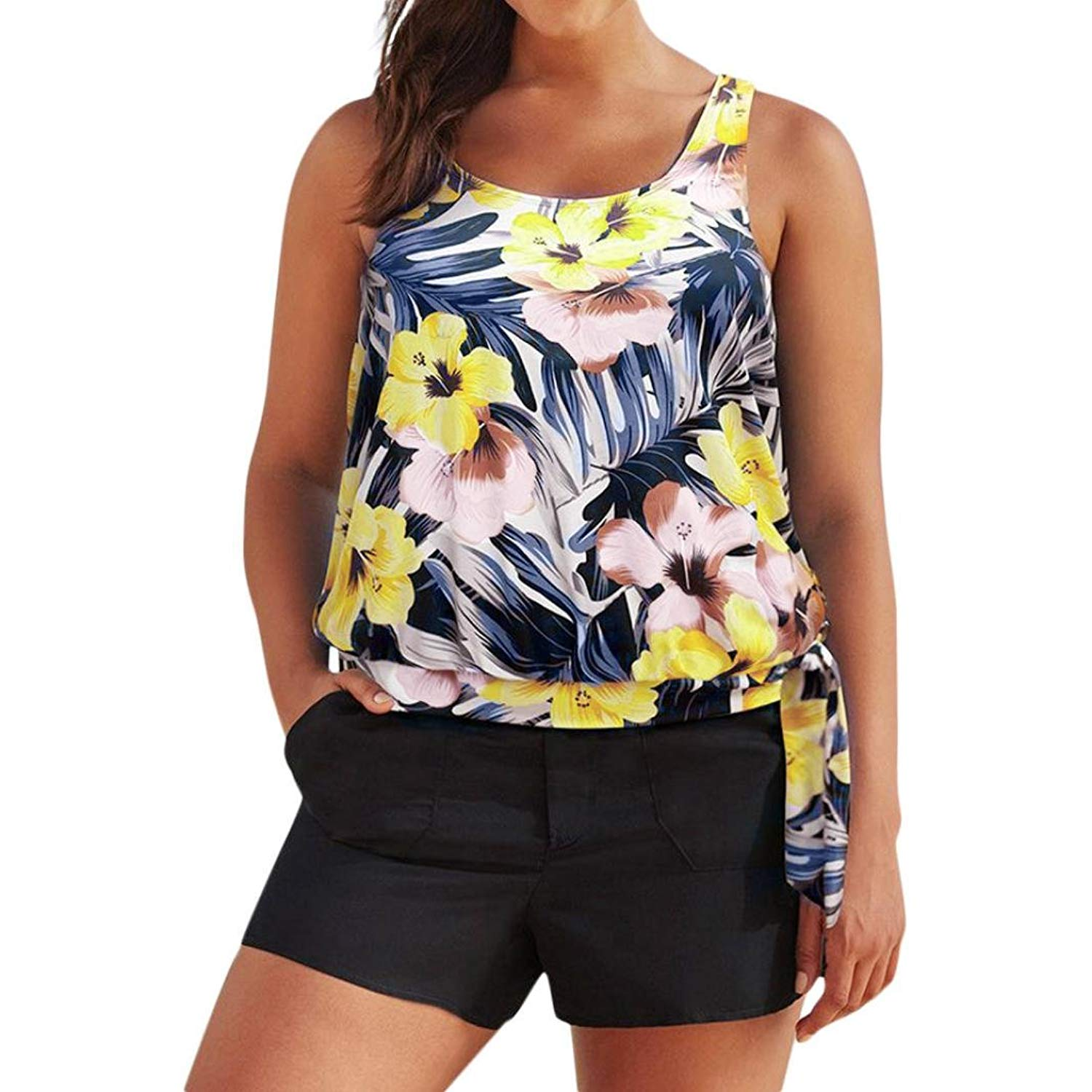 03bdb5321926d Get Quotations · WM & MW Plus Size Women Swimsuits,Fashion Tankini Sets  with Boy Shorts Pockets Floral