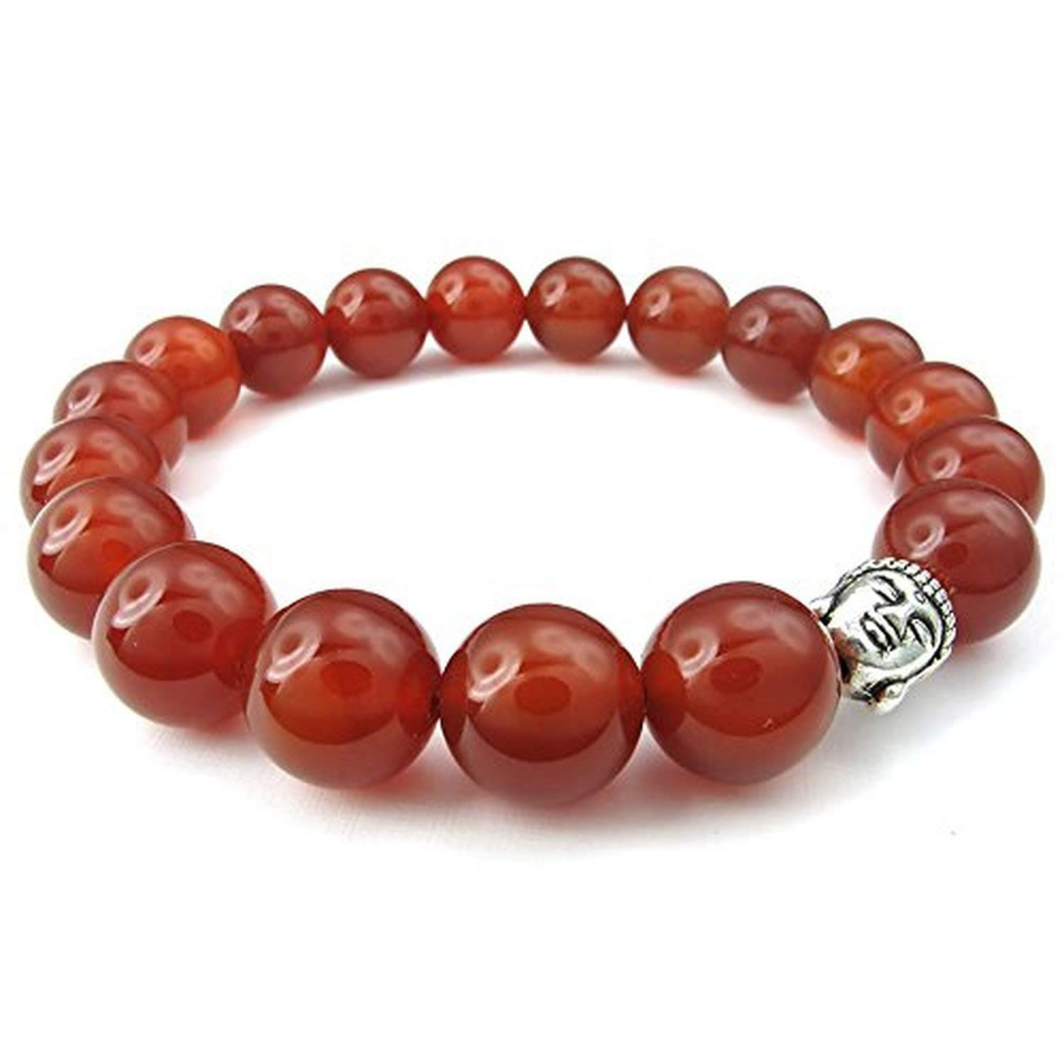 Energy Bead Buddha Mala CLJSTORE Jewelry Red Agate Mens Womens Bracelet Red Silver