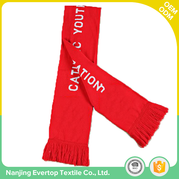 Custom printing logo knitted mini fans football fashionable women scarf