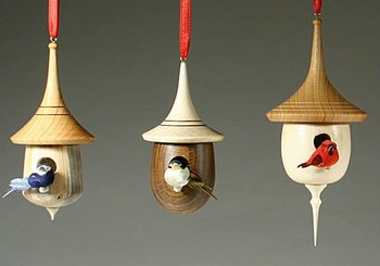 Hand made bird houses christmas tree ornaments buy wooden bird