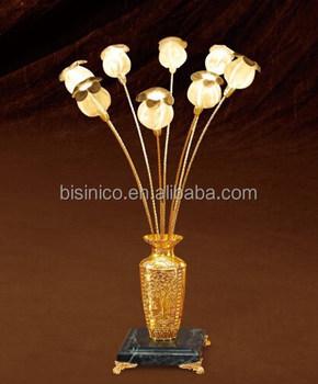 Luxury 24K Gold Plated Flower Vase Table Lamp Marble Base BF02 6069