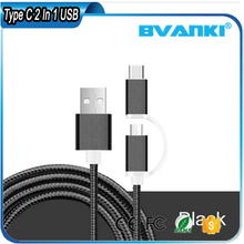 Micro USB 2-in-1 Cable with USB 3.1 Type C Cable Type C Convert Adapter
