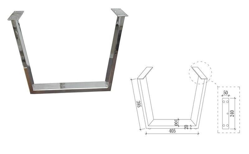 Métal fer chrome placage pouces table jambes pour restaurant