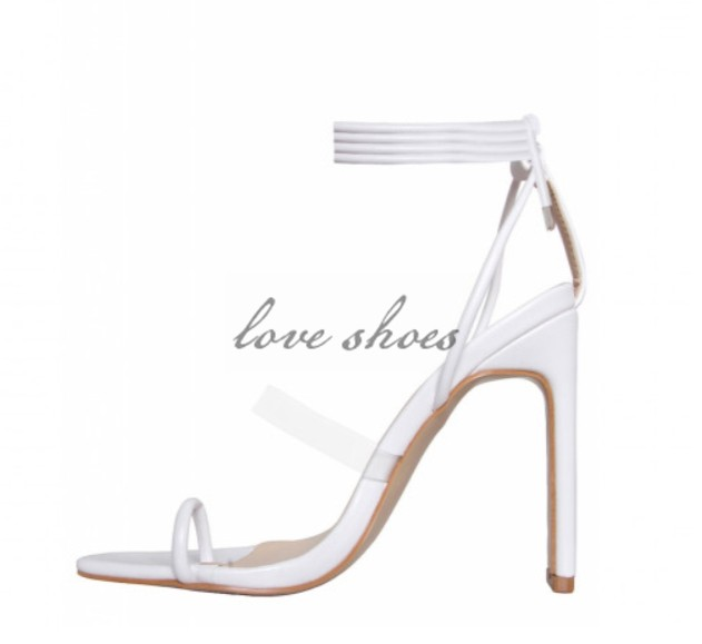 83be47d48c Latest Design Lace Up Transparent Strap Square Toe Sandals White ...