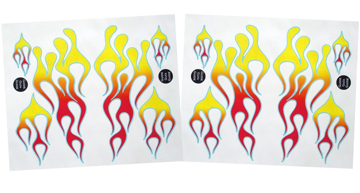 KA Mixer Decal Kit ClassicMix Double Stickers Flame Cover red, orange, and yellow with blue trim, designed to fit all KitchenAid stand mixers. Mixer Not Included.