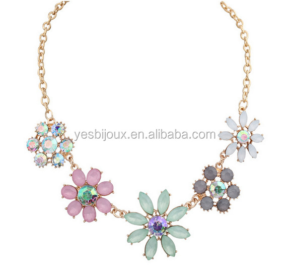 high Jelly color floret AB diamond shining jewel necklace