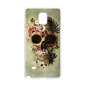 Diy Vintage Floral Skull Custom for samsung galaxy note 4 White Shell Phone Cover Case LIULAOSHI(TM) [Pattern-2]