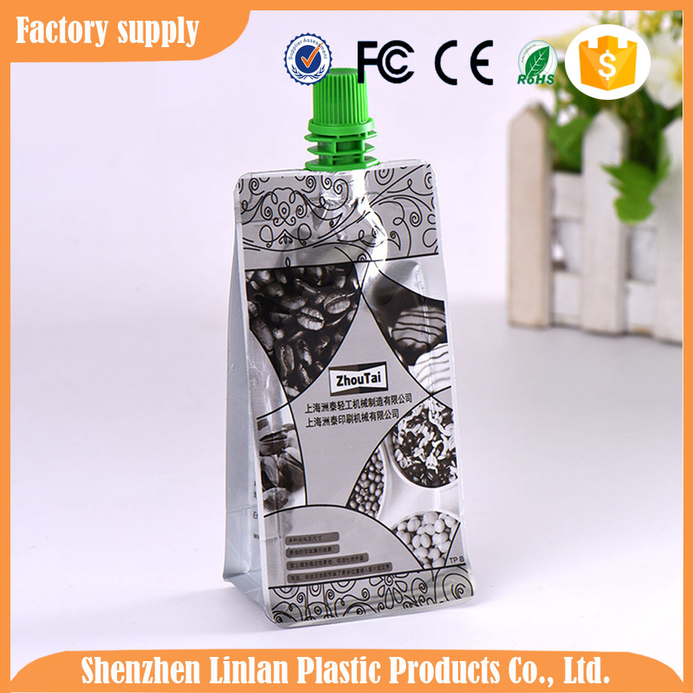 safety Food Grade Plastic MANGO juice Packaging Spout Bag with Square bottom