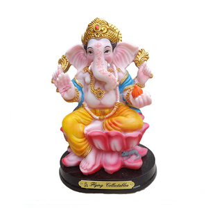 Full hand-painted Silver Resin Hindu Ganesha