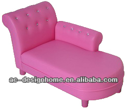 PINK PVC/WOODEN KID ONE SEAT SOFA BED W/CRYSTAL