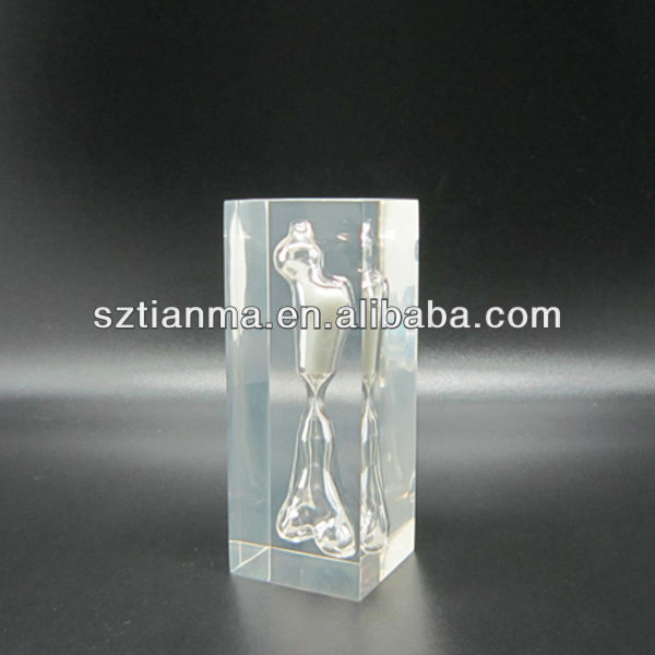 Clear resin with Bone shape 1 minutes hourglass