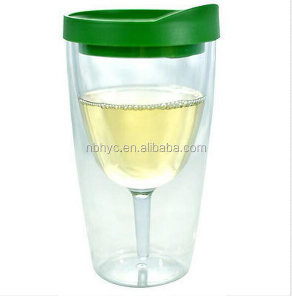 wine acrylic Tumbler, 16oz Double Wall acrylic Insulated wine cooler tumbler, eco-friendly Personalized plastic Wine Sippy Cup