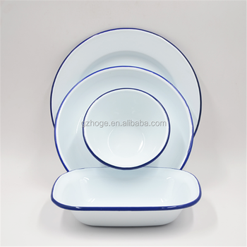 Whole Custom Rim Metal Dishes Enamel Plates And Bowls For Camping Outdoor