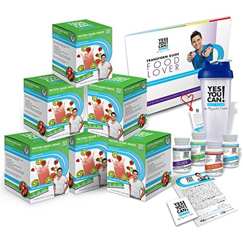 Yes You Can! Diet Plan Transform Kit Food Lover: Protein Shake Snacks, 30 Fat Burner Pills, 30 Appetite Suppressant Pills, 30 Colon Cleanser Pills, 30 Collagen Pills, 1 Bilingual Transform Guide (Spanish/english), 1 Shaker Bottle, 1 Yes You Can!™ Diet Plan Heart Shaped Band,1 Certificate of Success