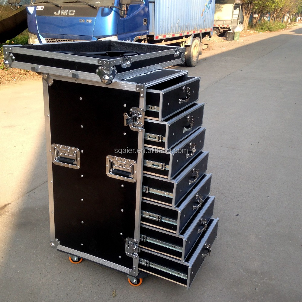 16U Aluminum flight case 4U DJ rack drawers /storage case with wheels