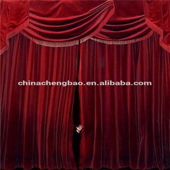 Rouge Velours Tissu Occultant Rideaux De Fond De Scène Noir Avec