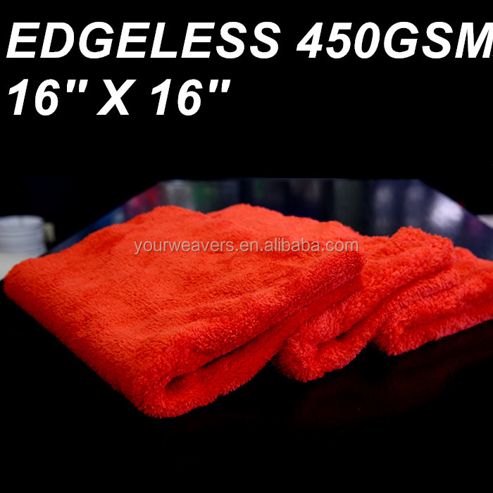 450GSM Red Edgeless Plush Microfiber Towel Microfiber Cloth Cleaning Towel Polishing Towel Wash Cloth for Car Care