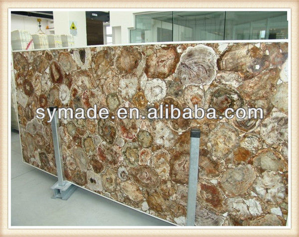 2013 Custom natural fossil stone countertops gemstone table tops