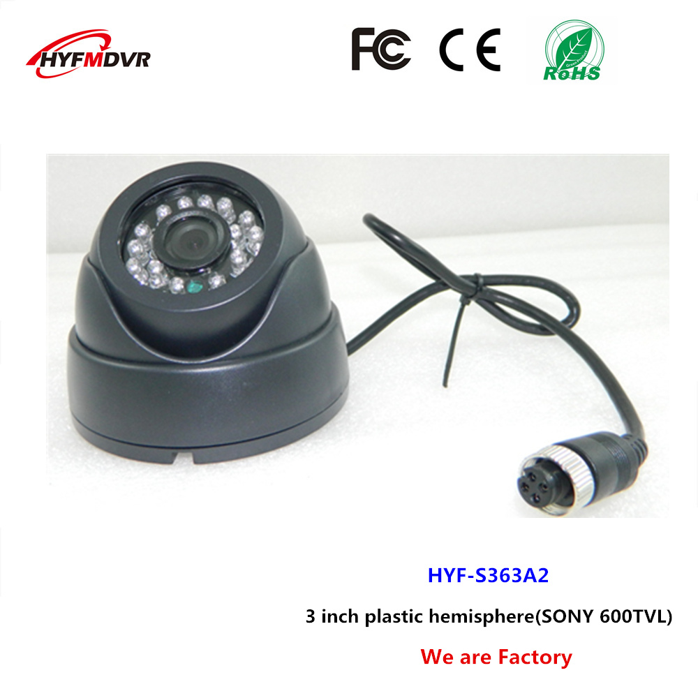 3 inch plastic hemisphere car camera CCD sensor school bus monitoring probe SONY 600TVL ntsc/pal system