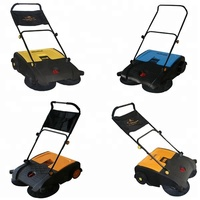 leaves paper scraps small debris cleaning hand operated mechanical floor sweeping machine