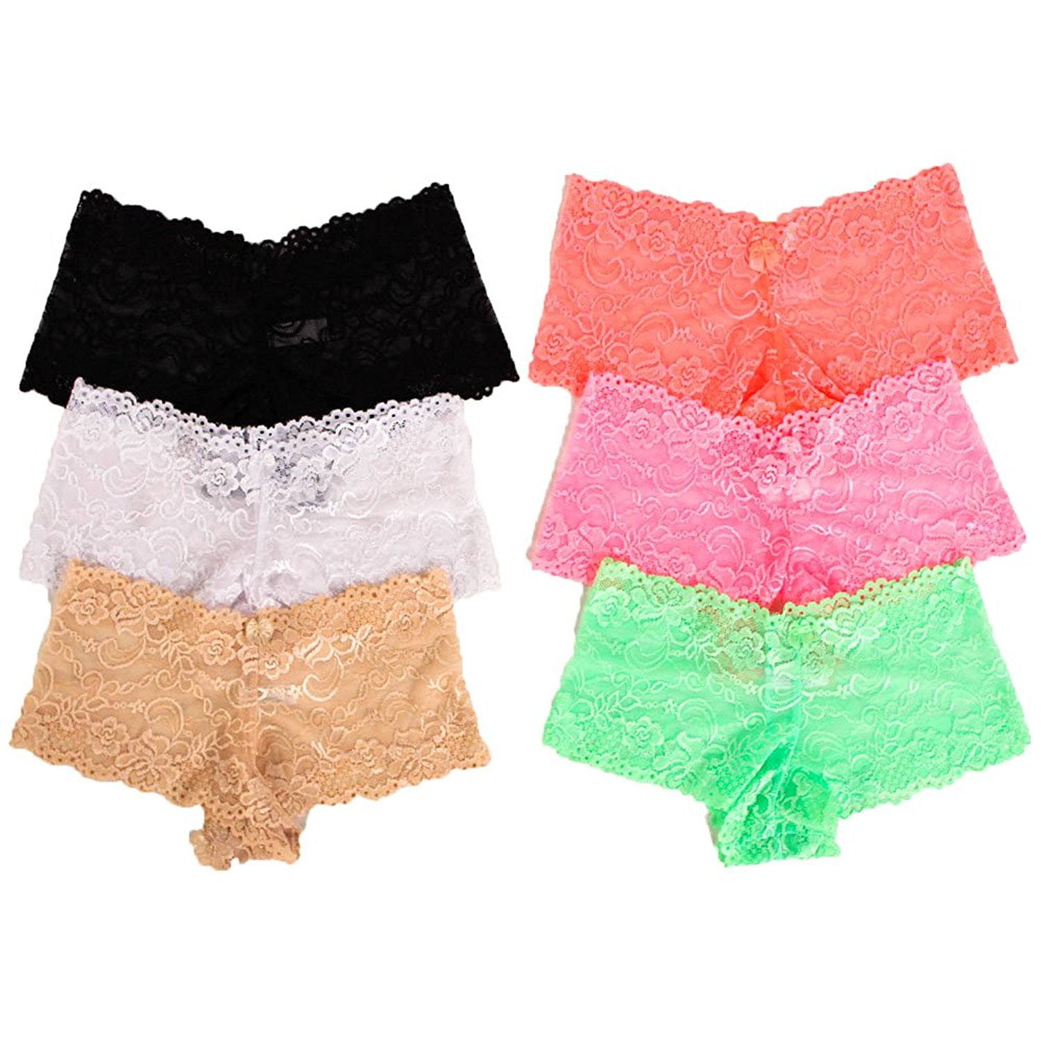 908bc32478 Get Quotations · MaMia 6 Pack of Women s Lace Boyshort Panties-Neon