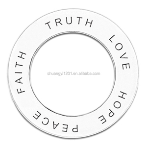 Wholesale faith truth love hope peace Circle ring Pendant happiness affirmation ring