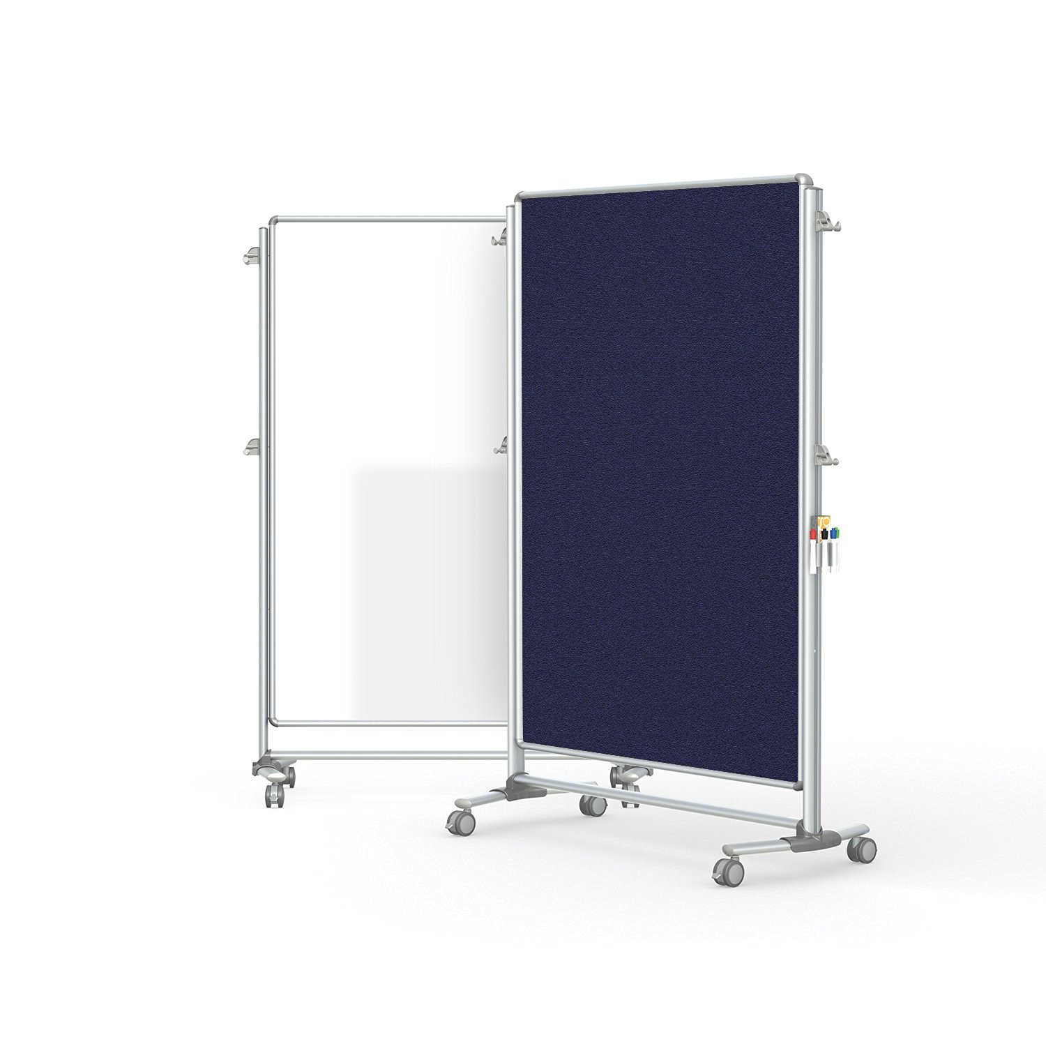 """Ghent 76-1/8"""" x 52-3/8"""" Nexus Partition, Magnetic Whiteboard/Bulletin Board, Double-Sided, Blue (NEX224MFP-93)"""