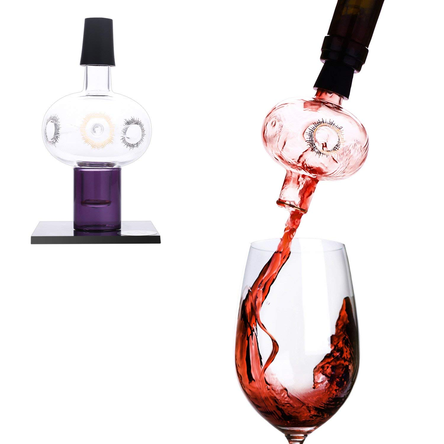 Lovinpro Wine Aerator Pourer Premium Glass Bottle-top Aerating Pourer and Decanter Spout Includes Dry Stand Gold Pattern